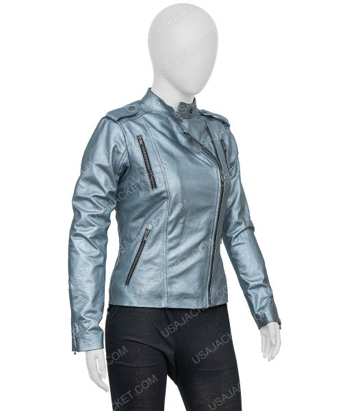 Eurovision Song Contest The Story Of Fire Sigrit Ericksdottir Silver Leather Jacket
