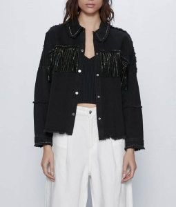 Killing Eve Villanelle Black Fringe Denim Jacket