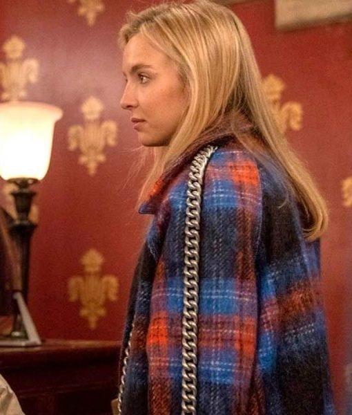 Killing Eve Season 03 Villanelle Blue and Red Plaid Chain Trim Coat