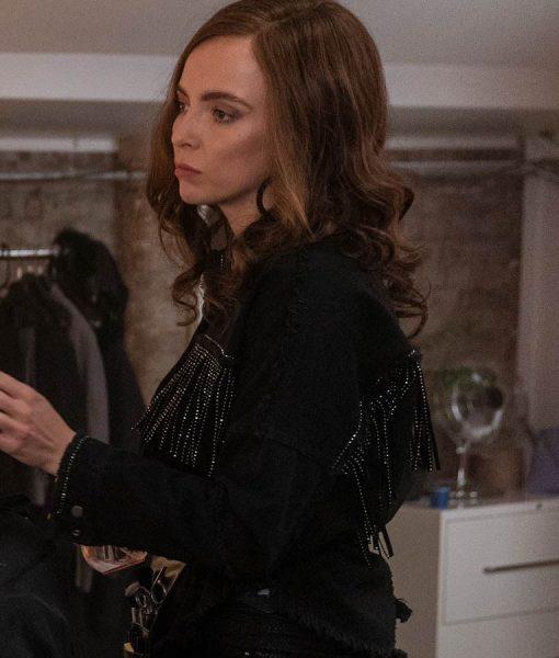 Jodie Comer Killing Eve Black Fringe Jacket