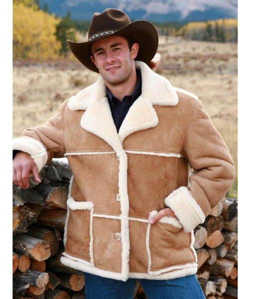 Marlboro Man Shearling Suede Leather Sheepskin Jacket