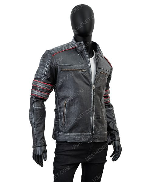 Clearance Sale Men's Retro Distressed Black Leather XL Size Jacket