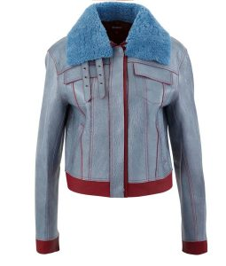 Life For Sara Yang Blue Leather Jacket With Shearling Collar