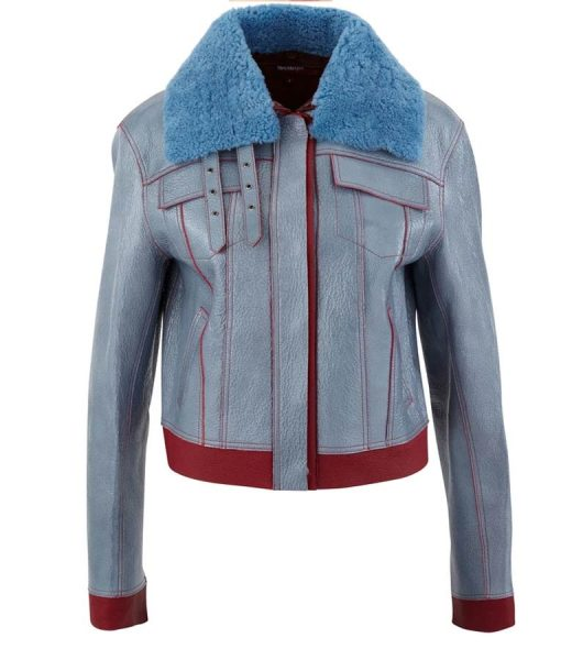 Zoe Chao Life For Sara Yang Blue Leather Jacket With Shearling Collar