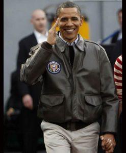 Barack Obama Air Force One Leather Bomber Jacket