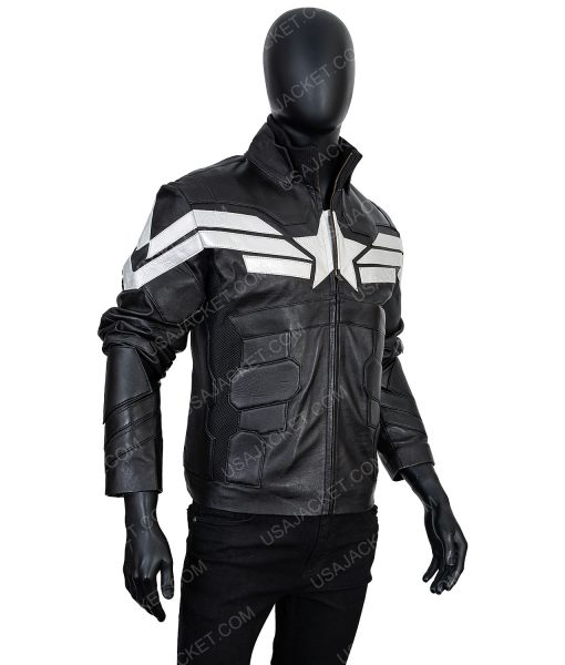Black Captain America Leather XL Jacket