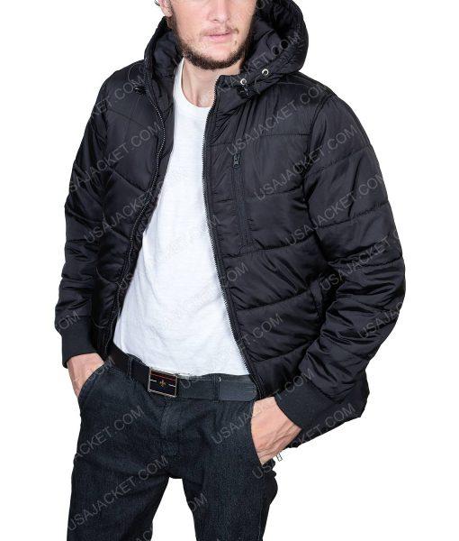 Black Puffer Parachute Hooded Jacket