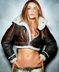 Britney Spears Cropped Brown Leather Jacket