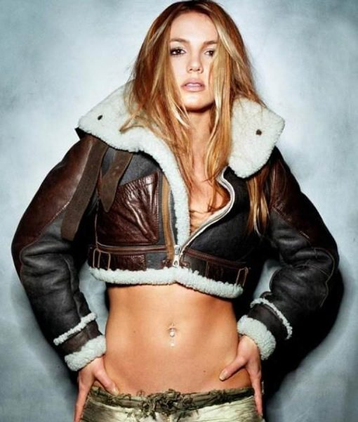 Britney Spears Shearling Cropped Jacket