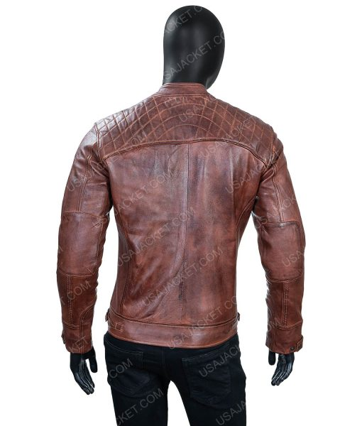 Men's Large Size Cafe Race Ten Distressed Leather Jacket