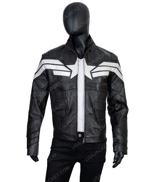 Captain America Black Leather Jacket in XL Size