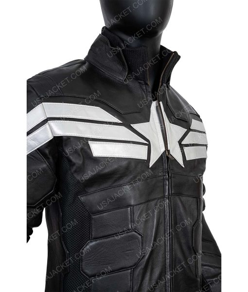 Black Captain America XL Leather Jacket