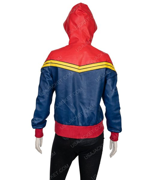 (M) Size Clearance Sale Carol Danvers Blue and Red Leather Hoodie