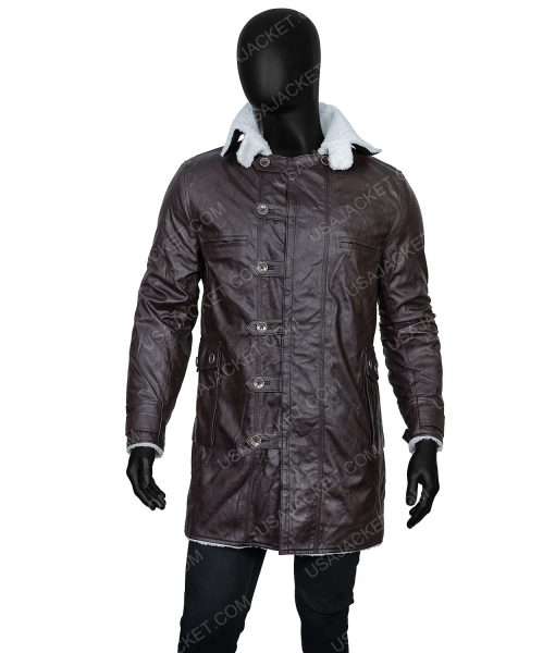 Clearance Sale Men's PU Leather Shearling Jacket In Large Size