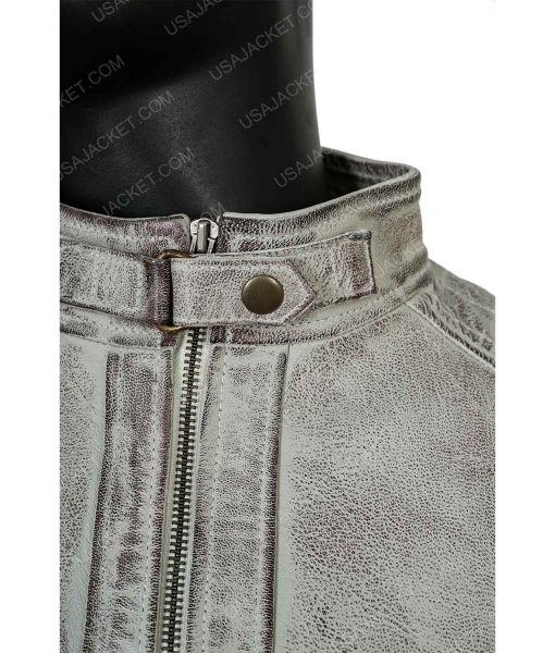 Clearance Sale Men's Cafe Racer Grey Leather Jacket (Large)