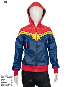 Clearance Sale Blue and Red Leather Hoodie (M) Size