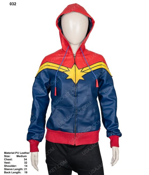 Clearance Sale Carol Danvers Blue and Red Leather Hoodie (M) Size