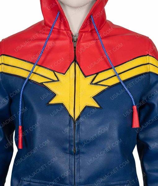 Clearance Sale Carol Danvers Blue and Red Leather Medium Size Hoodie
