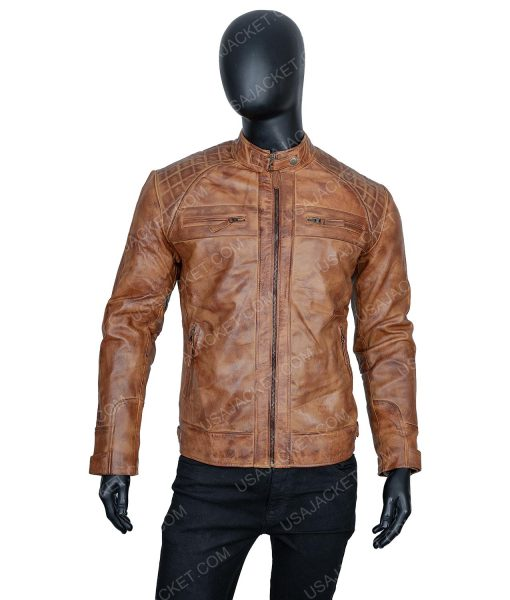 Clearance Sale Men's Light Tan Cafe Racer Leather Jacket