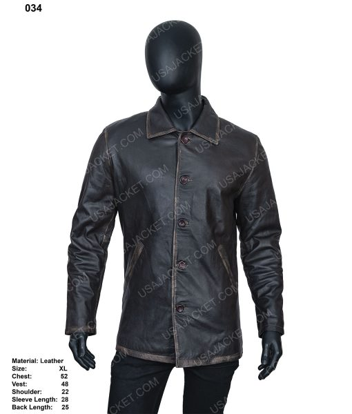 Clearance Sale Men's Black Leather Jacket In (XL) Size