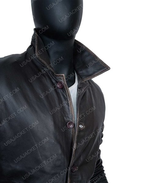 Clearance Sale Black Leather Jacket In (XL) Size