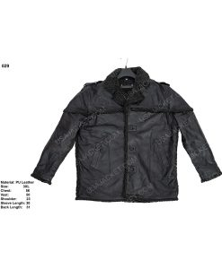 Clearance Sale Men's PU Leather Jacket With Fur (3XL) Size