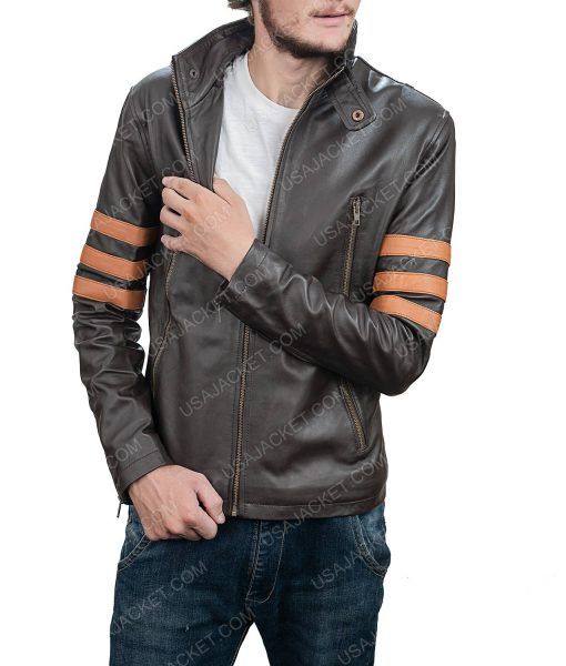 Clearance Sale Men's Brown Leather Jacket In Small Size