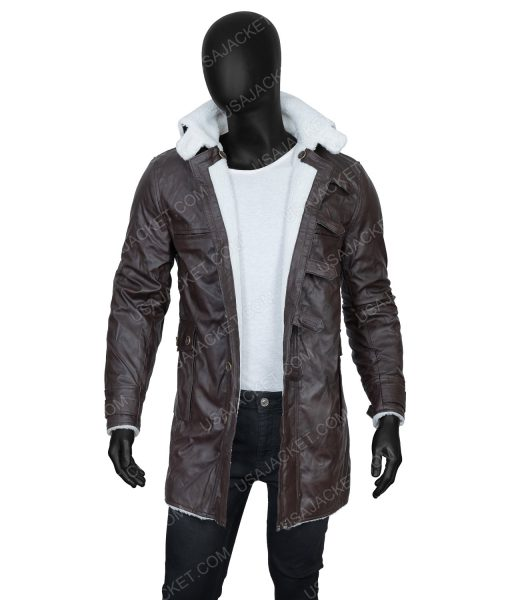 Clearance Sale Men's Brown PU Leather Shearling Jacket In Large Size