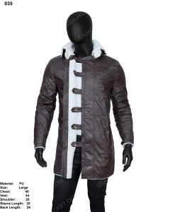 Clearance Sale Men's Brown PU Leather Shearling hooded jacket