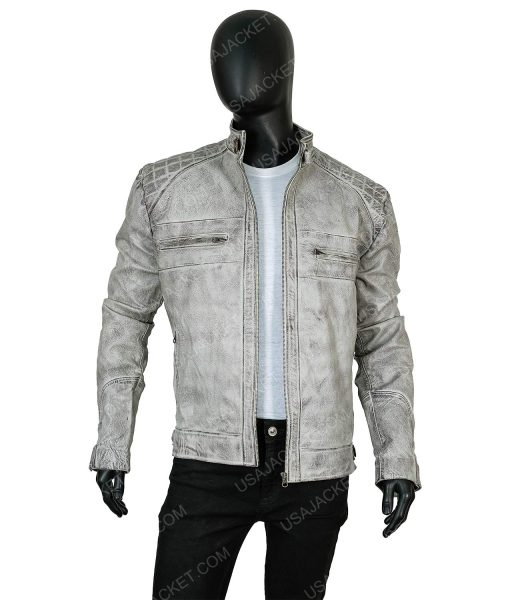 Clearance Sale Cafe Racer Distressed Grey Leather Jacket