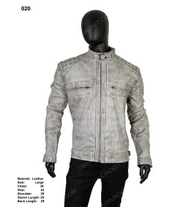 Clearance Sale Men's Cafe Racer Distressed Grey Leather Jacket (Large)