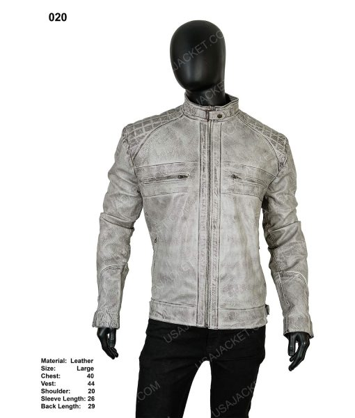 Clearance Sale Men's Cafe Racer Distressed Grey Leather Jacket
