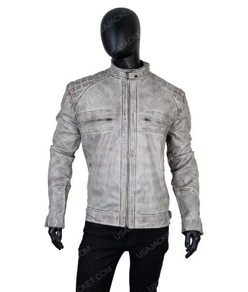 Clearance Sale Men's Cafe Racer Distressed Grey Jacket (Large)