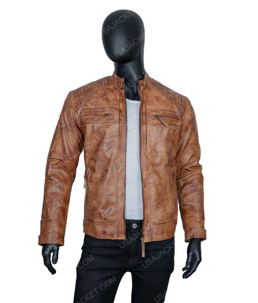 Clearance Sale Men's Tan Leather Jacket (M) Size