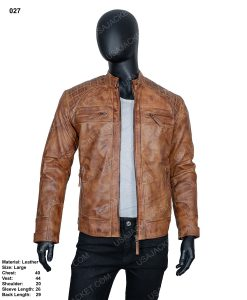 Clearance Sale Light Tan Cafe Racer Leather Jacket (L) Size