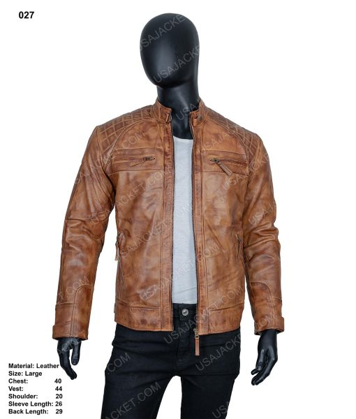 Clearance Sale Men's Cafe Racer Leather Jacket (L) Size
