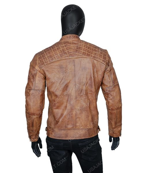 Clearance Sale Men's Light Tan Cafe Racer Leather Jacket (L) Size