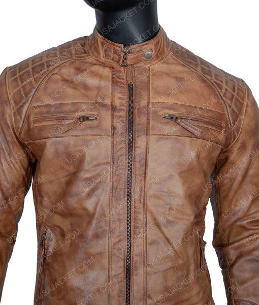 Clearance Sale Men's Light Tan Cafe Racer Jacket (L) Size