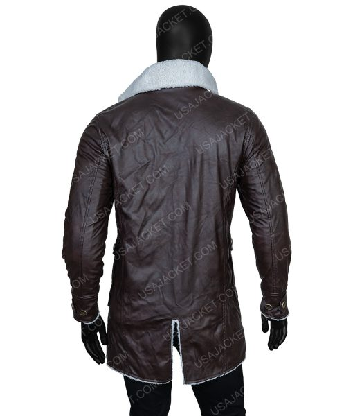 Clearance Sale Men's Brown PU Leather Shearling Jacket