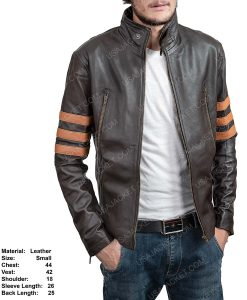 Clearance Sale Men's Brown Leather Retro Style Jacket In Small Size