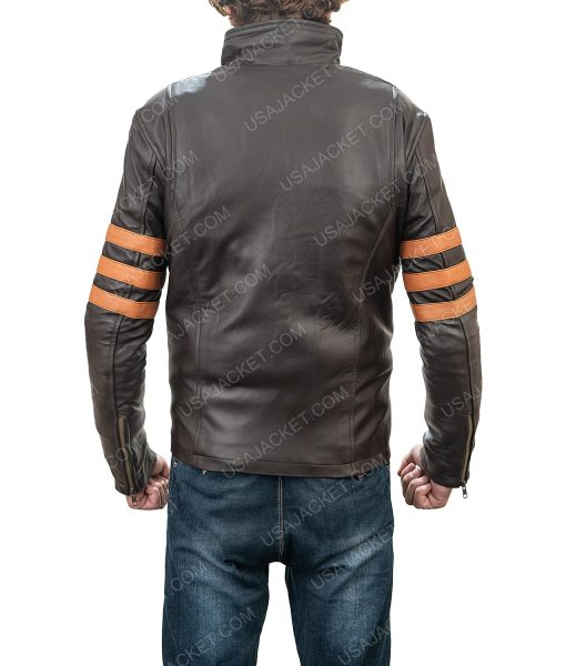 Clearance Sale Men's Retro Style Brown Leather Jacket In Small Size