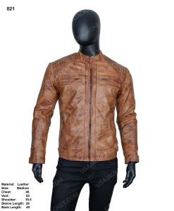 Clearance Sale Men's Tan Cafe Racer Leather Jacket (M) Size