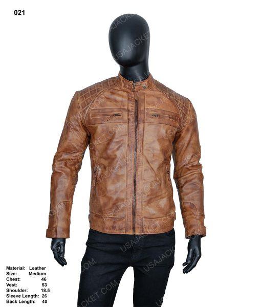 Clearance Sale Men's Tan Cafe Racer Leather Jacket
