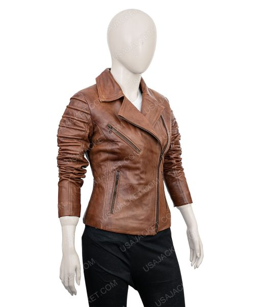 Clearance Sale Women's Dark Tan Biker Jacket (L) Size