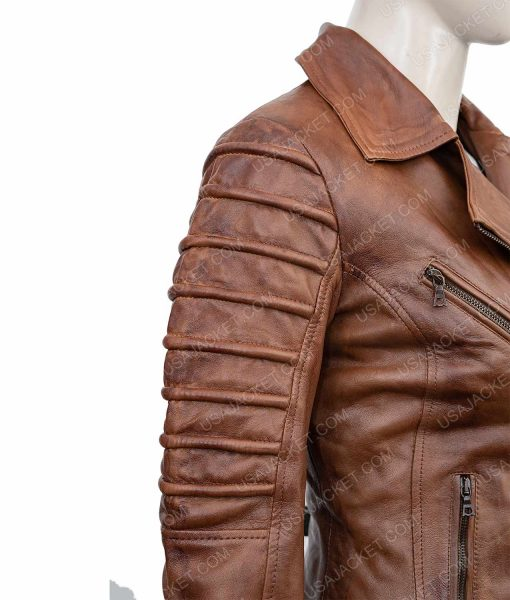 Clearance Sale Women's Dark Tan Leather Biker Jacket