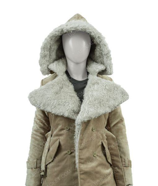 Clearance Sale Women's Suede Cotton Fawn Hooded Coat (Medium)