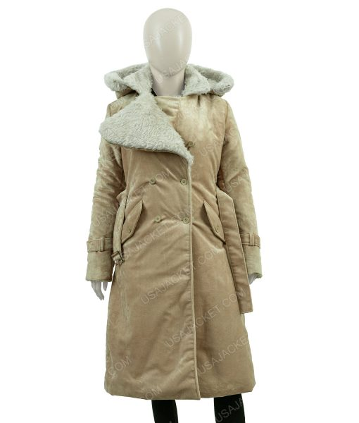 Clearance Sale Women's Fawn Suede Cotton Hooded Coat (Medium)