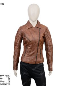 Clearance Sale Women's Dark Tan Leather Jacket (L) Size
