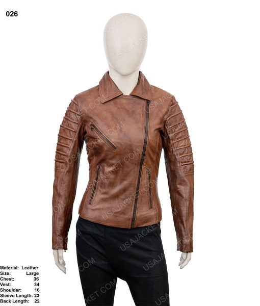 Clearance Sale Women's Leather Biker Jacket (L) Size