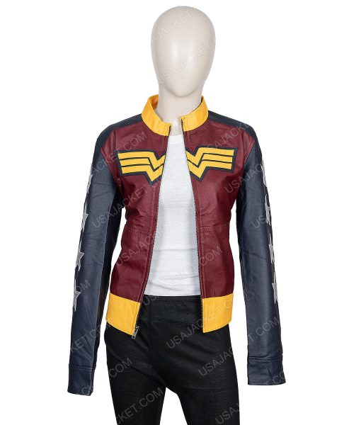 Clearance Sale Wonder Woman PU Leather Maroon Jacket (3XL) Size